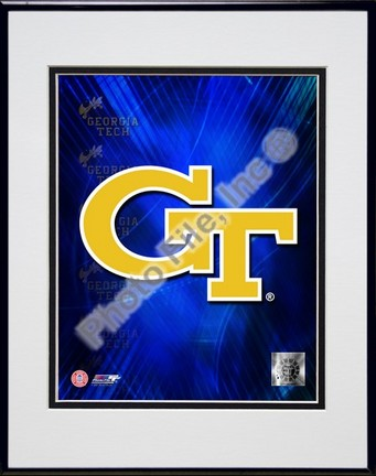 """Georgia Tech Yellow Jackets 2008 Logo Double Matted 8"""" x 10"""" Photograph in Black Anodized Aluminum Frame"""