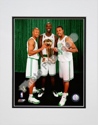 Kevin Garnett, Ray Allen, & Paul Pierce with the 2007-2008 NBA Champion trophy, Game 6 of the NBA Finals Double Matt