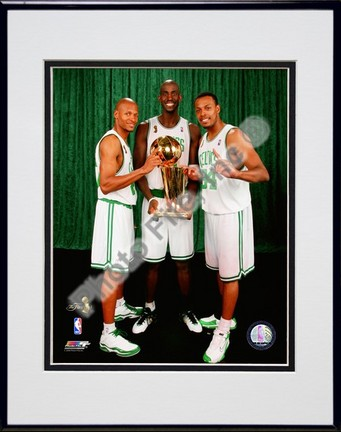 Kevin Garnett, Ray Allen, & Paul Pierce with the 2007-2008 NBA Champion trophy, Game Six of the NBA Finals; Posed #3