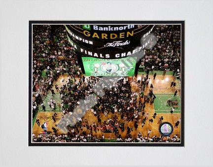 """TD Banknorth Garden, Game 6 of the 2008 NBA Finals; Celebration #28 Double Matted 8"""" x 10"""" Photograph (Unframed)"""