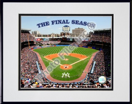 "Yankee Stadium 2008, The Final Season Double Matted 8"" x 10"" Photograph in Black Anodized Aluminum Frame"