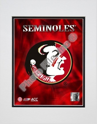 "2008 Florida State University Team Logo Double Matted 8"" x 10"" Photograph (Unframed)"