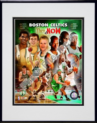 "2008 Boston Celtics Then & Now Composite Double Matted 8"" x 10"" Photograph in Black Anodized Aluminum Frame"