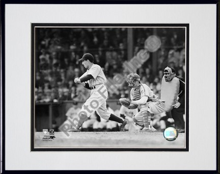 "Phil Rizzuto ""Batting Action (Black & White)"" Double Matted 8"" x 10"" Photograph in Black Anodized Alum"