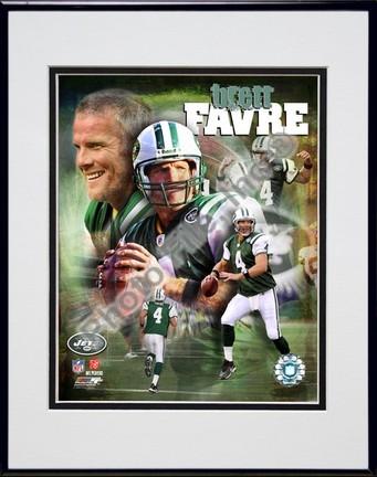 """Brett Favre """"2008 Portrait Plus"""" Double Matted 8"""" x 10"""" Photograph in Black Anodized Aluminum Frame"""