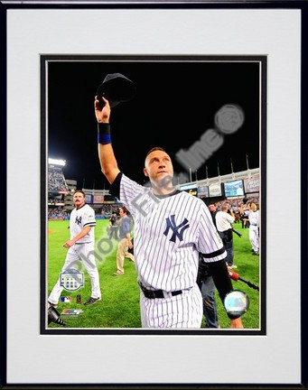 """Derek Jeter """"Final Game at Yankee Stadium (Hats off to the crowd) 2008"""" Double Matted 8"""" x 10"""" Photograph"""