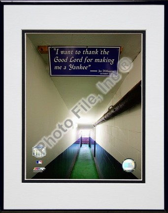 "Yankee Stadium dugout Tunnel Final Game September 21, 2008 Double Matted 8"" x 10"" Photograph in Black Anodized Alumi"