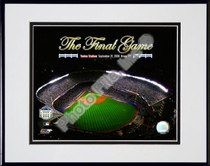 """Yankee Stadium Aerial """"The Final Game 2008 With Overlay"""" Double Matted 8"""" x 10"""" Photograph in Black Anodiz"""