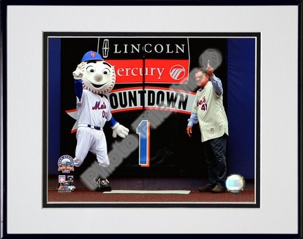 """Tom Seaver (New York Mets) """"Final Game at Shea Stadium 2008"""" Double Matted 8"""" x 10"""" Photograph in Black An"""