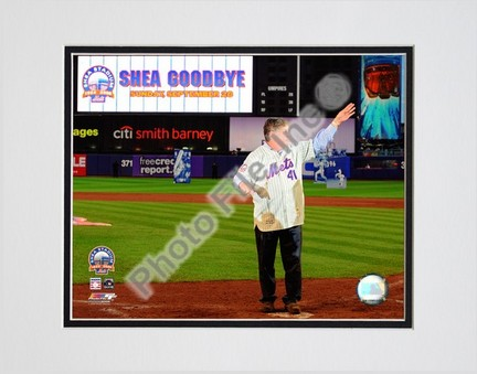 """Tom Seaver """"Final Game at Shea Stadium 2008"""" Double Matted 8"""" x 10"""" Photograph (Unframed)"""