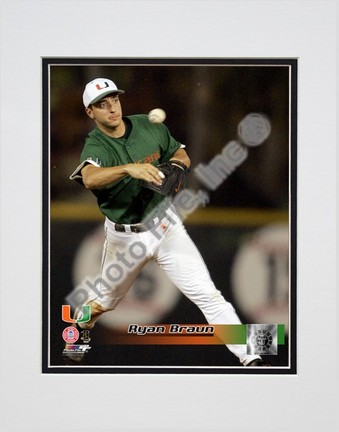 "Ryan Braun ""Miami  Hurricanes 2005 Fielding Action"" Double Matted 8"" x 10"" Photograph (Unframed)"