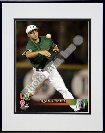 """Ryan Braun """"Miami  Hurricanes 2005 Fielding Action"""" Double Matted 8"""" x 10"""" Photograph in Black Anodized Al"""