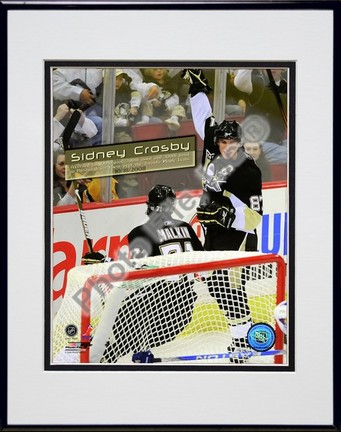 """Sidney Crosby """"Celebrates his 100th Career NHL Goal"""" Double Matted 8"""" x 10"""" Photograph in Black Anodized A"""