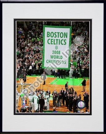 "Image of The Boston Celtics Raise their 2007-2008 Championship Banner Double Matted 8"" x 10"" Photograph in Black Anodized Aluminum Frame"