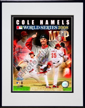 """Cole Hamels """"2008 World Series MVP"""" Double Matted 8"""" x 10"""" Photograph in Black Anodized Aluminum Frame"""