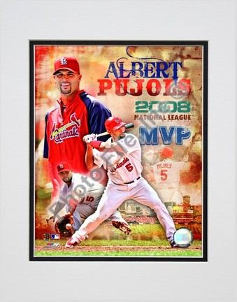 "Sporting Goods Stores Albert Pujols ""2008 National League MVP Portrait Plus"" Double Matted 8"" x 10"" Photograph (Unframed)"