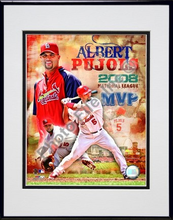 "Sporting Goods Stores Albert Pujols ""2008 National League MVP Portrait Plus"" Double Matted 8"" x 10"" Photograph in Black Anodized Aluminum Frame"