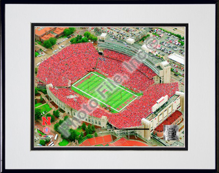 "Memorial Stadium Nebraska Cornhuskers 2007 Double Matted 8"" x 10"" Photograph in Black Anodized Aluminum Frame"