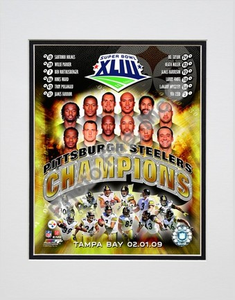 """Pittsburgh Steelers """"2008 Super Bowl XLIII Champions Composite"""" Double Matted 8"""" x 10"""" Photograph (U"""