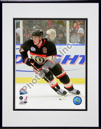 """Jonathan Toews """"2008 - 2009 NHL Winter Classic Action"""" Double Matted 8"""" x 10"""" Photograph in Black An"""