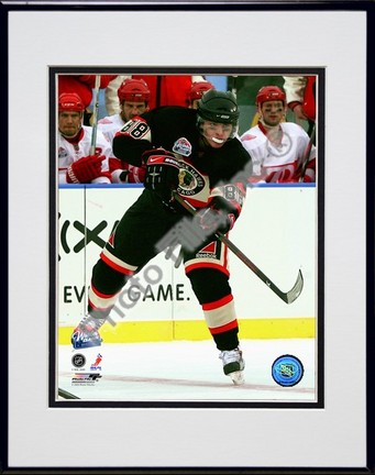 "Patrick Kane ""2008 - 2009 NHL Winter Classic Action"" Double Matted 8"" x 10"" Photograph in Black Anod"