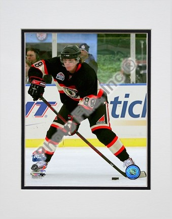 """Patrick Kane """"2008 - 2009 NHL Winter Classic Action with Puck"""" Double Matted 8"""" x 10"""" Photograph (Un"""