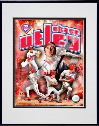 """Chase Utley """"2008 Portrait Plus"""" Double Matted 8"""" x 10"""" Photograph in Black Anodized Aluminum Frame"""