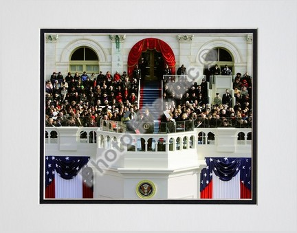 """Barack Obama """"2009 Inaugural Address (#95)"""" Double Matted 8"""" x 10"""" Photograph (Unframed)"""