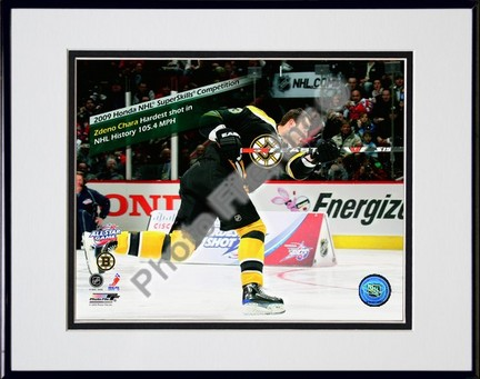 "Zdeno Chara 2008-2009 NHL All-Star Game Hardest Shot in NHL History Double Matted 8"" x 10"" Photograph in Black Anodi"