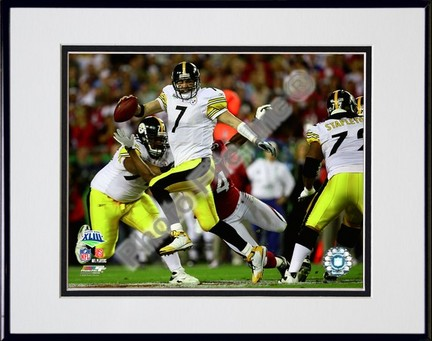 "Ben Roethlisberger ""Super Bowl XLIII (#2)"" Double Matted 8"" x 10"" Photograph in Black Anodized Alumi"