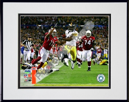 """James Harrison """"Touchdown Super Bowl XLIII (#5)"""" Double Matted 8"""" x 10"""" Photograph in Black Anodized"""