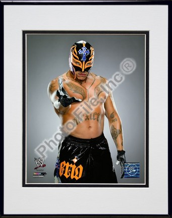 "Rey Mysterio #534 Double Matted 8"" x 10"" Photograph in Black Anodized Aluminum Frame"