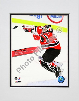 "Martin Brodeur Winningest Goaltender in NHL history with 552 wins With Overlay Double Matted 8"" x 10"" Photograph (Un"