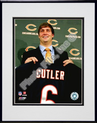 "Jay Cutler 2009 Press Conference Double Matted 8"" x 10"" Photograph in Black Anodized Aluminum Frame"