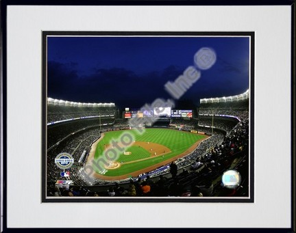 """Yankee Stadium 2009 Night Shot Double Matted 8"""" x 10"""" Photograph in Black Anodized Aluminum Frame"""