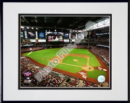 """Chase Field 2009 Opening Day Double Matted 8"""" x 10"""" Photograph in Black Anodized Aluminum Frame"""
