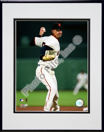 """Randy Johnson 2009 """"Pitching Action"""" Double Matted 8"""" x 10"""" Photograph in Black Anodized Aluminum Frame"""