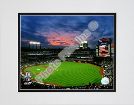 """2009 Citi Field Inaugural Game Night Shot Double Matted 8"""" x 10"""" Photograph (Unframed)"""