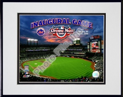 """2009 Citi Field Inaugural Game Double Matted 8"""" x 10"""" Photograph in Black Anodized Aluminum Frame"""