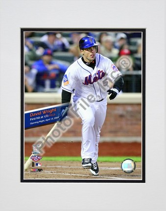 """David Wright 1st Mets Hit 2009 Citi Field Inaugural Game Double Matted 8"""" x 10"""" Photograph (Unframed)"""