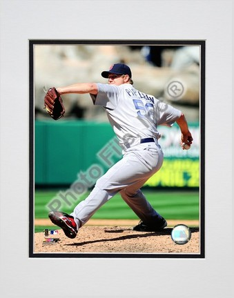 """Jonathan Papelbon """"2009 Pitching Action Left View"""" Double Matted 8"""" x 10"""" Photograph (Unframed)"""