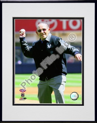"""Yogi Berra throws out the Ceremonial 1st Pitch 2009 Yankee Stadium Inaugural Game Double Matted 8"""" x 10"""" Photograph"""