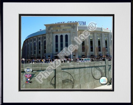 """Yankee Stadium 2009 Inaugural Game Exterior Double Matted 8"""" x 10"""" Photograph in Black Anodized Aluminum Frame"""