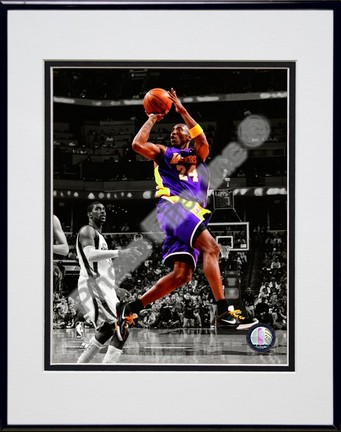 """Kobe Bryant """"In the Spotlight"""" #2 Double Matted 8"""" x 10"""" Photograph in Black Anodized Aluminum Frame"""