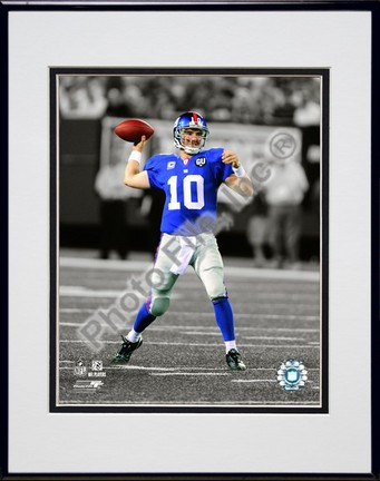 """Eli Manning """"2009 In the Spotlight Action"""" Double Matted 8"""" x 10"""" Photograph in Black Anodized Aluminum Fr"""