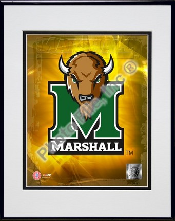 """Marshall Thundering Herd Logo Double Matted 8"""" x 10"""" Photograph in Black Anodized Aluminum Frame"""