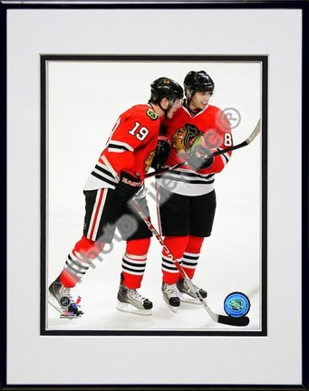 "Jonathan Toews and Patrick Kane ""2009 Playoffs"" Double Matted 8"" x 10"" Photograph in Black Anodized"