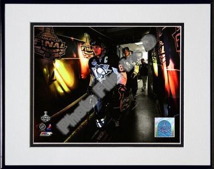 "Sidney Crosby and Evgeni Malkin """"2009 Stanley Cup / Game 4 (#17)"""" Double Matted 8"""" x 10"""" Photograph in Black Anodized Aluminum Frame"" PHF-AALJ235-37"