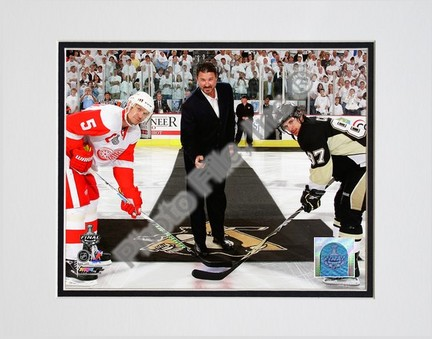 "Mario Lemieux """"Ceremonial Puck Drop Game Three of the 2009 NHL Stanley Cup Finals (#24)"""" Double Matted 8"""" x 10"""" Photograph (Unframed)"" PHF-AALJ244-33"