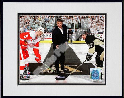 "Mario Lemieux """"Ceremonial Puck Drop Game Three of the 2009 NHL Stanley Cup Finals (#24)"""" Double Matted 8"""" x 10"""" Photograph in Black Anodized Aluminum Frame"" PHF-AALJ244-37"